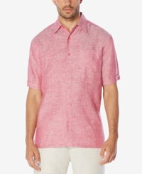 Cubavera Men's Crosshatch Linen Short Sleeve Shirt Sangria