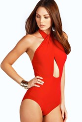 Boohoo Slinky Wrap Front Bodysuit Red