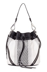She Lo 'Make Your Mark' Leather Drawstring Bag Black White Weave