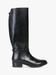Geox 'S Felicity Leather Buckle Knee Boots Black