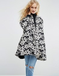 Asos Made In Kenya Floral Satin A Line Coat With Rib Detail Black