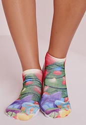 Missguided Christmas Tree Socks Green