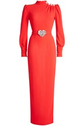 Alessandra Rich Floor Length Gown With Embellishment Red