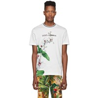 Dolce And Gabbana White Orchid Print T Shirt