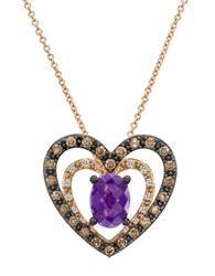 Levian 14K Rose Gold And Amethyst Heart Pendant Necklace With Diamonds Amethyst Rose Gold