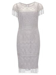 Gina Bacconi Metallic Fringe Lace Dress Silver Mist
