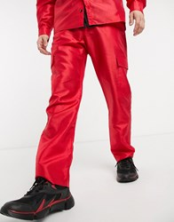 Milk It Vintage Combat Trousers In Red