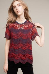 Anthropologie Atarra Lace Tank Red Motif