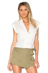 L'academie The Safari Crop Top White