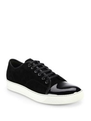 Lanvin Patent Leather Paneled Suede Lace Up Sneakers Dark Grey Black