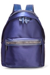 Stella Mccartney The Falabella Go Faux Leather Trimmed Satin Backpack Indigo