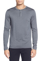 Theory 'Billey' Silk And Wool Long Sleeve Henley Deep Titanium