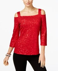 Inc International Concepts Sequin Cold Shoulder Top Only At Macy's Real Red