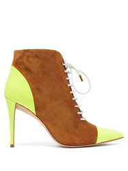 Matty Bovan X Gina Rodine Lace Up Suede Ankle Boots Tan Multi