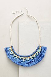 Anthropologie Acalia Fringed Collar Necklace Navy