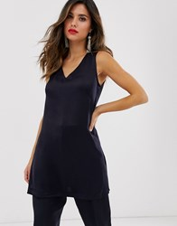Closet London Longline Tunic Top Co Ord In Navy Blue