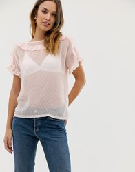 Naf Naf Romantic Laced Woven Top With Ruffle Details Pink