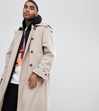 Add Oversized Trench Coat In Stone