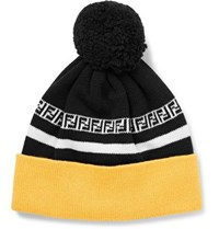Fendi Logo Intarsia Ribbed Virgin Wool Beanie Black