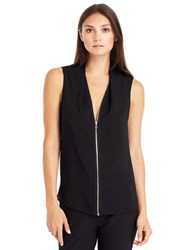 Kenneth Cole Floriane Zip Front Blouse Black