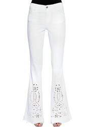 Ermanno Scervino Eyelet Lace Embroidered Boot Cut Jeans White