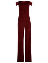 Galvan Burgundy Satin Strapless Jumpsuit Red