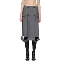 Maison Martin Margiela Grey Houndstooth Double Breasted Skirt