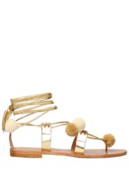 Gia Couture 10Mm Pompom Metallic Leather Sandals