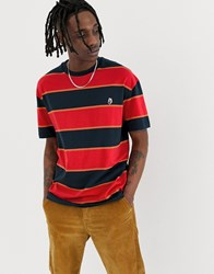 Globe Frenzy Striped T Shirt In Red And Navy
