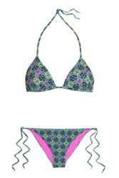 Matthew Williamson Printed Triangle Bikini Azure