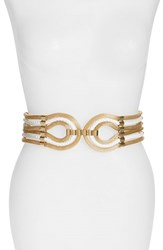Women's Raina 'Large Spago' Stretch Belt White Gold