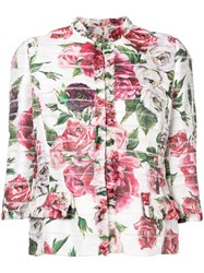 Dolce And Gabbana Floral Print Cropped Jacket Pink And Purple