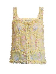 Attico Ana Ruffled Floral Print Cami Top Yellow