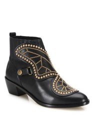 Sophia Webster Karina Butterfly Studded Leather Booties Black