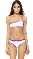 Kiini Yaz One Shoulder Bikini Top White Multi