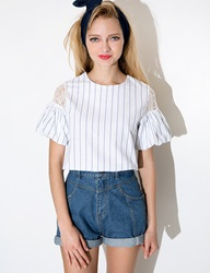 Pixie Market Stripe Lace Shoulder Top