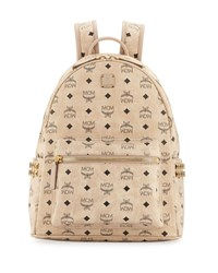 Mcm Stark Small Side Studded Backpack Beige