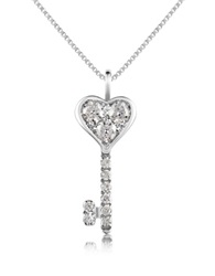 Forzieri 0.41 Ct Diamond Key Pendant Necklace White Gold