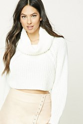 Forever 21 Cowl Neck Crop Sweater Cream