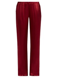 Carine Gilson Straight Leg Silk Satin Pyjama Trousers Burgundy
