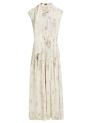 Joseph Ines Sleeveless Silk Dress Cream Multi