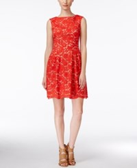 Vince Camuto Sleeveless Boat Neck Lace Dress Poppy