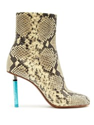 Vetements Python Effect Lighter Heel Leather Ankle Boots