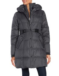 Larry Levine Belted Down Puffer Coat Steel