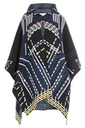 Peter Pilotto Wool Blend Cape With Angora Blue