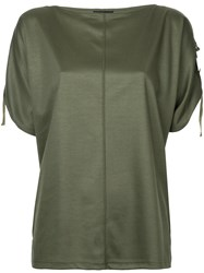 G.V.G.V. Taped Dolman Sleeve T Shirt Women Cotton Tencel Xs Green