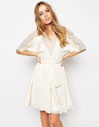 Asos Lace Back Dolphin Satin Mini Dress Cream White