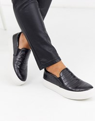 Steve Madden Gills Slip On Sneakers In Black Croc Print