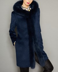 The Fur Vault Fox Trim Hooded Alpaca Blend Coat Navy