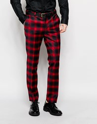 Heart And Dagger Ombre Check Suit Trousers In Super Skinny Fit Red